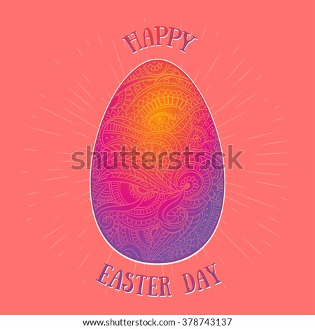 Feast of Easter. The most important Christian holiday. Set of Easter eggs for the design, textures and prints, advertising and brochures. Are decorated by various ornaments and bright colors. - stock vector