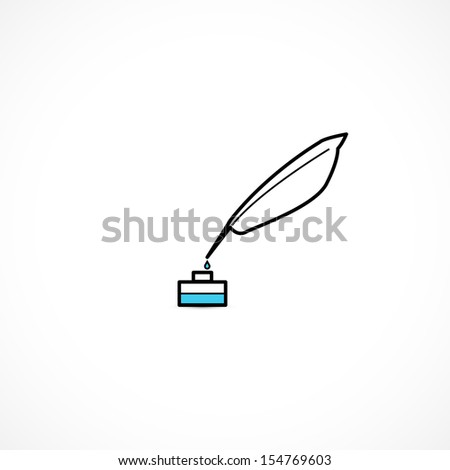 feather and ink icon - stock vector