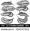 Feather back symbol  line set. Vector illustration - stock vector
