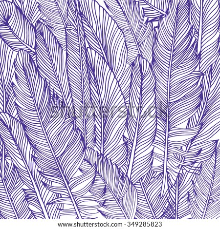 Feather background, hand drawn in vector. - stock vector