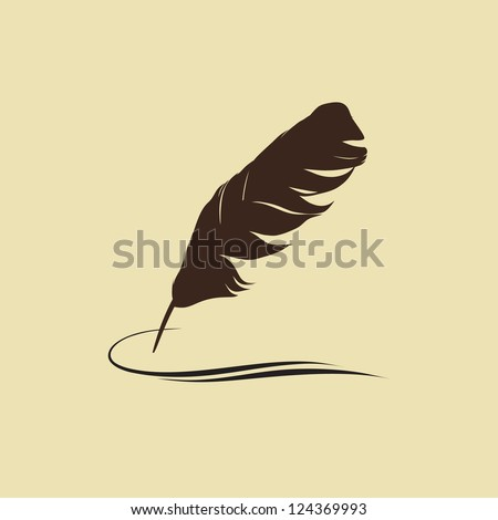 Feather calligraphic pen vector background - stock vector