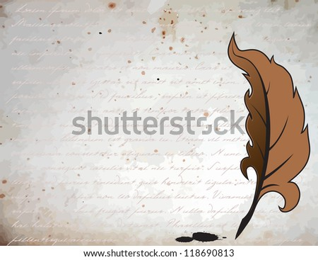 Feather for writing on a vintage background - stock vector