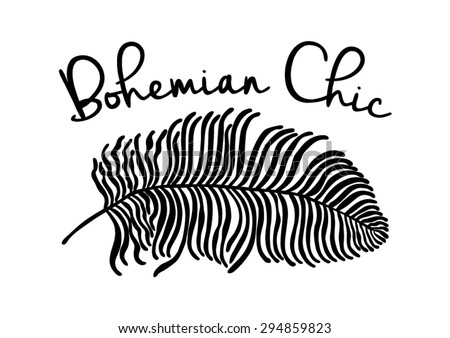 Feather graphic with slogan in vector - stock vector