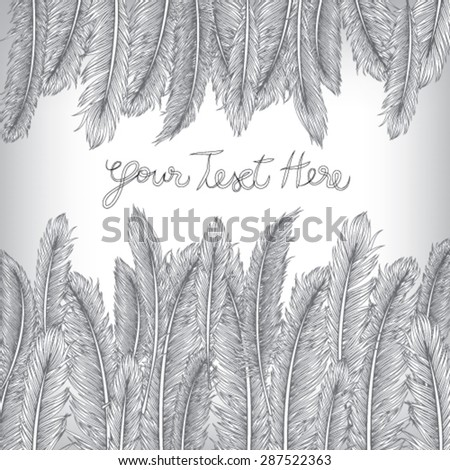 Feather Invitation Card, Hand Drawn Vector, EPS10 Background - stock vector