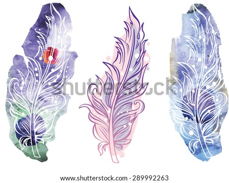 Feather on raster watercolor background - stock vector