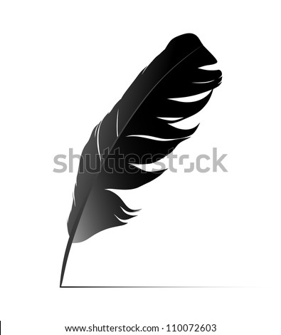 Feather on white background vector - stock vector