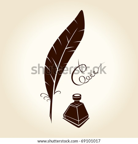 Feather pen ink calligraphic letter vector illustration - stock vector