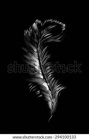 feather pen. Vector - stock vector