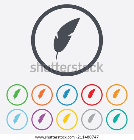 Feather sign icon. Retro pen symbol. Light weight symbol. Round circle buttons with frame. Vector - stock vector