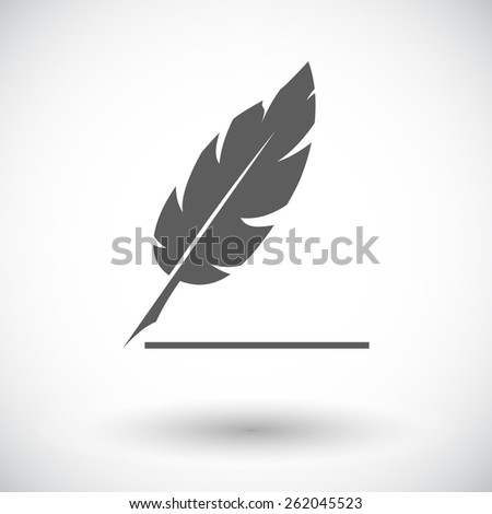 Feather. Single flat icon on white background. Vector illustration. - stock vector