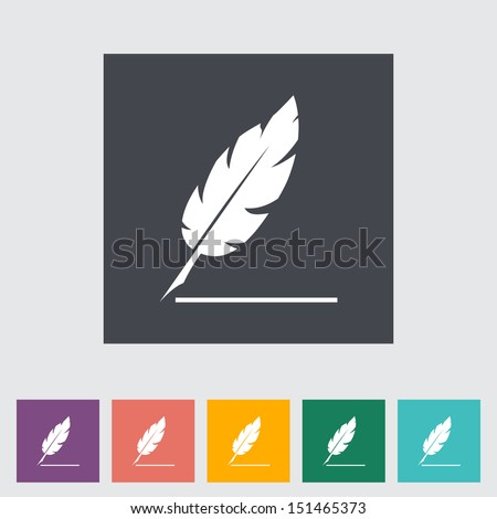 Feather. Single flat icon. Vector illustration. - stock vector
