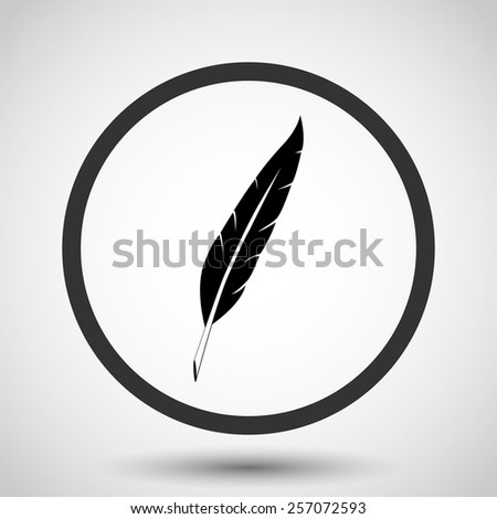 Feather vector icon - black illustration - stock vector
