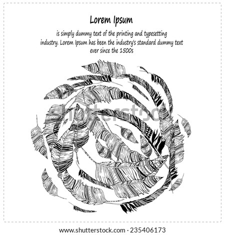 Feather vector, seamless Card with hand-drawn feathers, feathers seamless background - stock vector