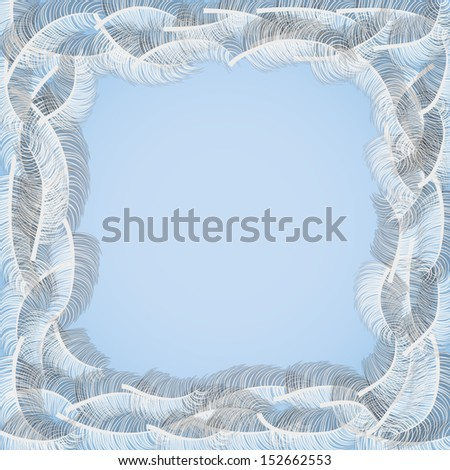 feathers frame - stock vector