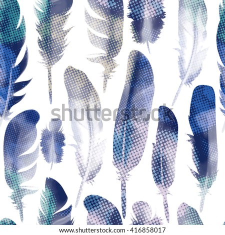 Feathers pattern background. Vector, EPS10. - stock vector