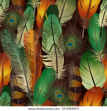 Feathers realistic seamless pattern with colorful bird air feathers vector illustration - stock vector
