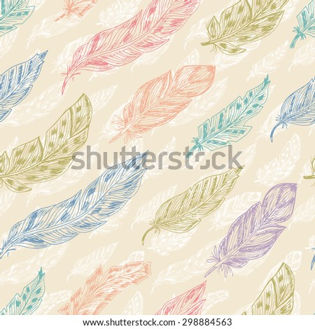 Feathers. Seamless pattern with Colorful Feathers. Vintage wallpaper. Hand Drawn Doodles background - stock vector