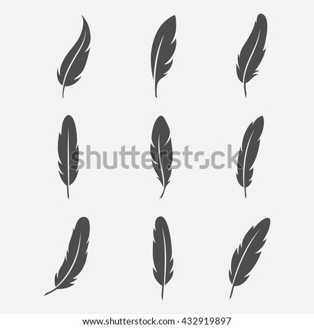 Feathers vector set in a flat style. Icons feathers isolated on a light background. Collection of silhouettes of dark feathers. Simple icons feathers as elements for design.  - stock vector