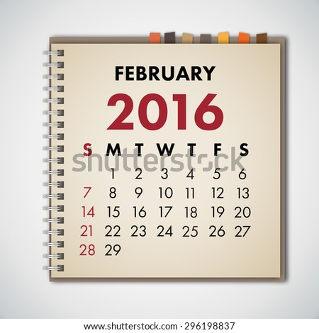 February 2016 Calendar Notebook Vector  - stock vector