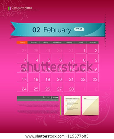 February 2013 calendar ribbon design, vector illustration - stock vector