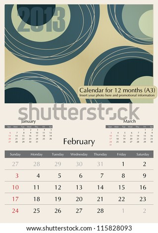 February. 2013 Calendar. Times Optima fonts used. A3 - stock vector