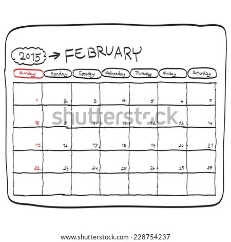 february 2015 planning calendar vector, doodles hand drawn. - stock vector