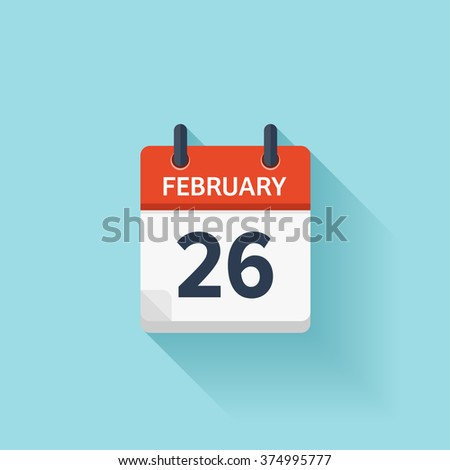 February 26. Vector flat daily calendar icon. Date and time, day, month. Holiday. - stock vector