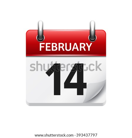February 14. Vector flat daily calendar icon. Date and time, day, month. Holiday. - stock vector