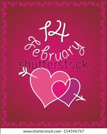 February 14. Vector illustration. - stock vector