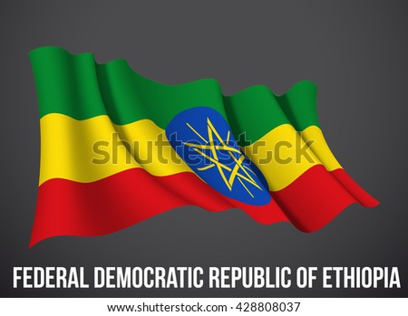 Federal Democratic Republic of Ethiopia flag vector waving in the wind illustration isolated dark background. Modern banner day of independence country. Holiday card with standard Spirit of the union - stock vector