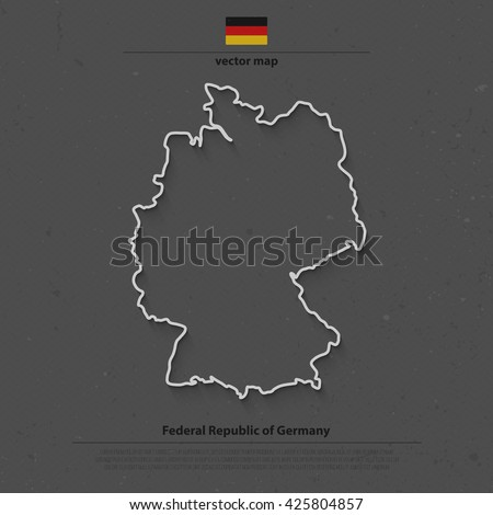 Federal Republic of Germany map outline and official flag icon over grunge background. vector German political map 3d illustration. European State geographic banner template. Deutschland - stock vector