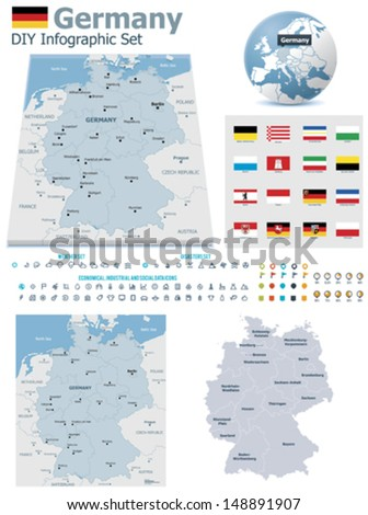 Federal Republic of Germany maps with markers - stock vector