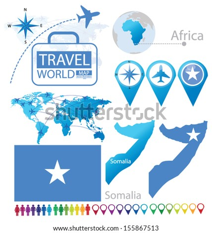 Federal Republic of Somalia. flag. World Map. Travel vector Illustration. - stock vector