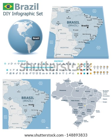 Federative Republic of Brazil maps with markers - stock vector