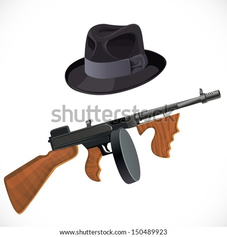 Fedora hat and a Thompson gun  for a retro party  isolated on white background - stock vector