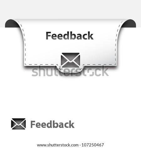 Feedback button ( White ) - stock vector