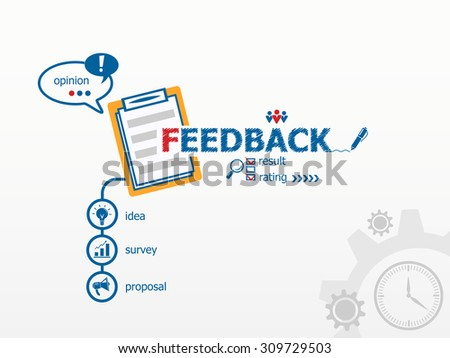 Feedback concept and notebook. Hand writing Feedback with blue marker. - stock vector