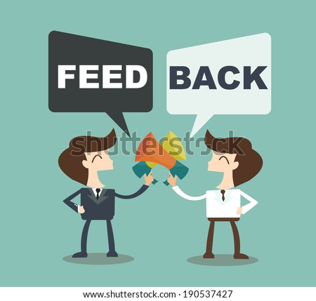 Feedback concept - businessman talk feedback Speech Bubble - stock vector