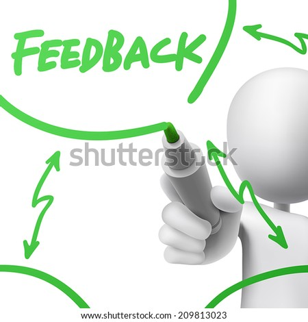 feedback concept drawn by a man over white background - stock vector
