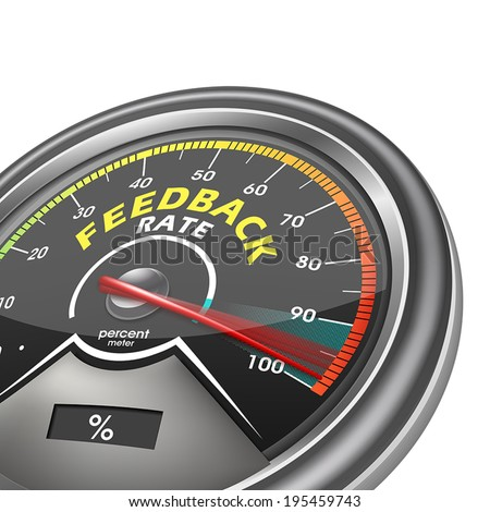 feedback rate meter indicate hundred percent, isolated on white background, vector illustrator - stock vector