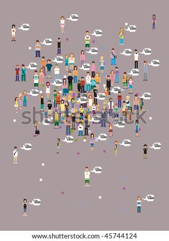 feel good pixel art people wallpaper - stock vector