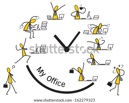 Feeling and emotion of ' nine to five' businessman in diary life since going to work until finished working and go home.   - stock vector