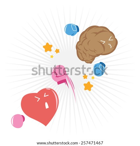 Feeling wins against Logic with uppercut punch. when follow the feeling and abandon all the logic things. Love is Blind. - stock vector