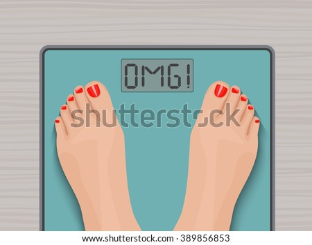 Feet on weighing scales. top view. Health concept. - stock vector