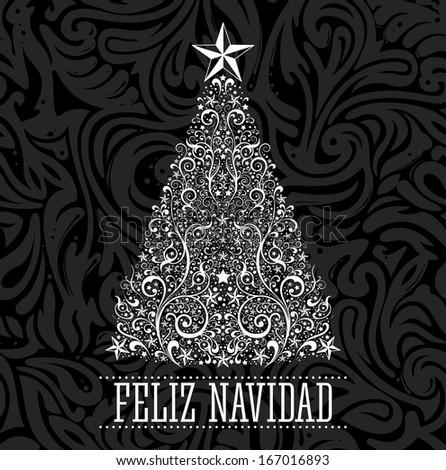 Feliz navidad - merry christmas spanish text card - vector - Abstract Floral Christmas Tree Background. - stock vector