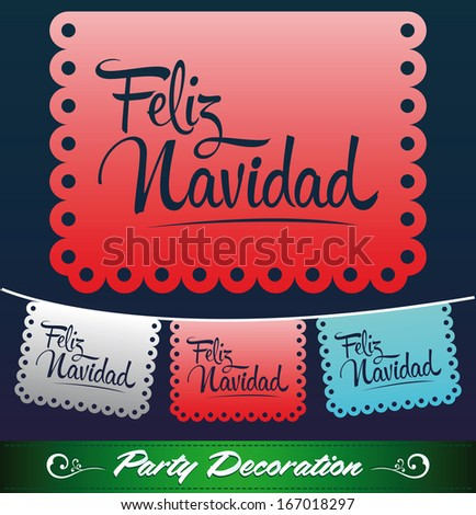 Feliz Navidad - Merry christmas spanish text - holiday vector decoration - stock vector