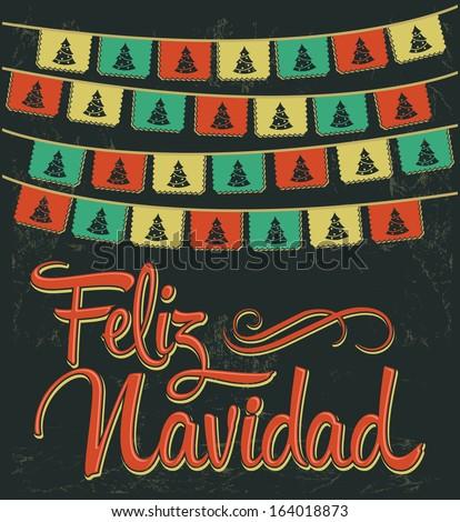 Feliz Navidad - Merry Christmas spanish text - Vector card - stock vector