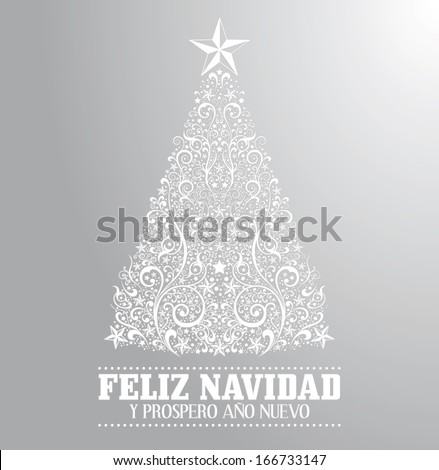 Feliz navidad y prospero ano nuevo - merry christmas and happy new year spanish text card - vector - Abstract Floral Christmas Tree Background. - stock vector