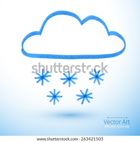 Felt pen drawing of snowy cloud. Vector illustration. isolated. - stock vector