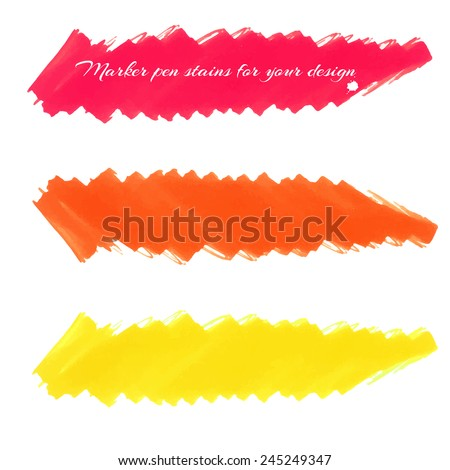 Felt-tip marker stains isolated on a white background in red and yellow tones, to design labels, banners, artwork, backgrounds, etc. Vector. - stock vector
